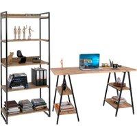 Kit Mesa Cavalete 150 cm com Estante 5 Prateleiras Estilo Industrial Form Carvalho - Lyam Decor