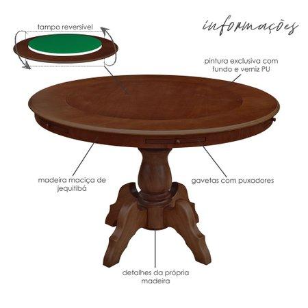 Mesa de Jogos Carteado Redonda Montreal Tampo Reversível Imbuia com 6 Cadeiras Liverpool Corino Preto Liso - Gran Belo