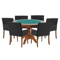 Mesa de Jogos Carteado Redonda Montreal Tampo Reversível Amêndoa com 6 Cadeiras Vicenza Preto Fosco - Gran Belo