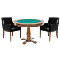 Mesa de Jogos Carteado Victoria Redonda Tampo Reversível Amêndoa com 2 Cadeiras Liverpool Corino Preto Liso - Gran Belo