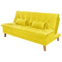 Sofá Cama Reclinável 2 Lugares Sala de Estar Quarto 192cm Lady Suede Amarelo - Gran Belo