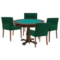 Mesa de Jogos Carteado Victoria Redonda Tampo Reversível Imbuia com 4 Cadeiras Vicenza Verde - Gran Belo