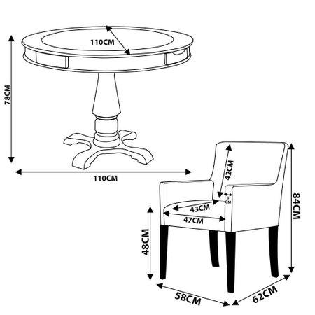Mesa de Jogos Carteado Redonda Victoria Tampo Reversível Preto com 2 Cadeiras Liverpool Corino Preto Liso - Gran Belo