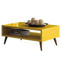 Mesa de Centro Sala de Estar 90cm Pés Palito Acre Amarelo - Gran Belo