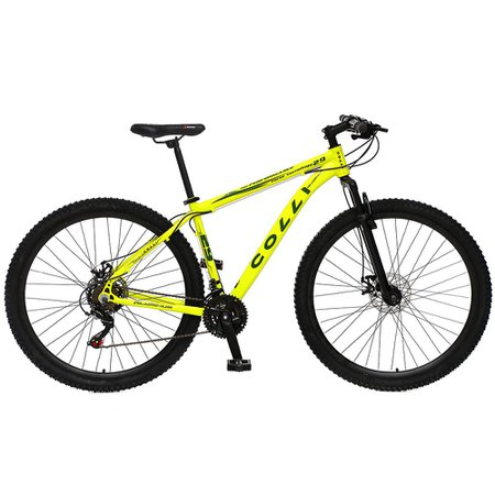 Bicicleta Esportiva Aro 29 Shimano 21 Marcha Suspensão Freio a Disco 531 Quadro 18 Alumínio Amarelo Neon - Colli Bike
