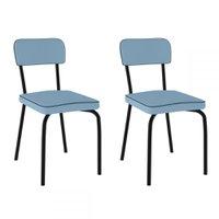 Cadeiras Kit 2 Cadeiras Vinil Azul Claro/pintado - Pozza