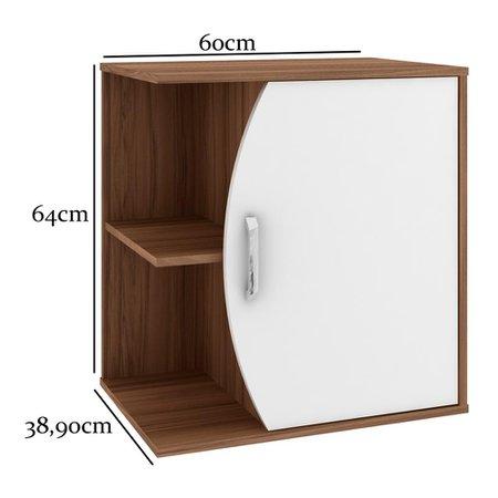 Gabinete para Banheiro sem Cuba Duna 60cm - Bosi - Nogal/Branco