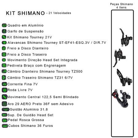 Bicicleta Esportiva Aro 29 Shimano 21 Marcha Suspensão Freio a Disco F11 Quadro 18 Alumínio Preto/Laranja - Colli Bike