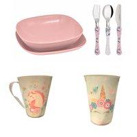 Conjunto pratos, talheres, copo, caneca  infantil- Unicornio