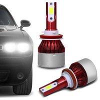 Par Lâmpadas Smart LED - Luz Branca Efeito Xênon - H1 H3 H4-3 H7 H8 H11 H13 H16 H27 HB3 HB4 6000K 50W