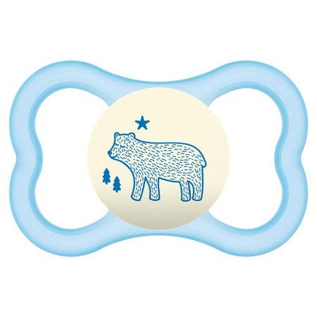 Chupeta Mam Air Night Urso Azul 6m+ Single Box 2833