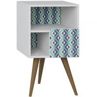 Mesa de Cabeceira 1 Porta 1008 Retro Branco/estampa Azul - Bentec