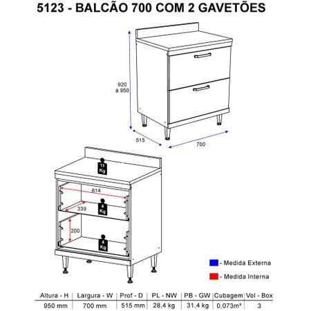 Balcão Multimóveis Sicília Duplo 70cm com Gavetão 5123 Argila/Branco