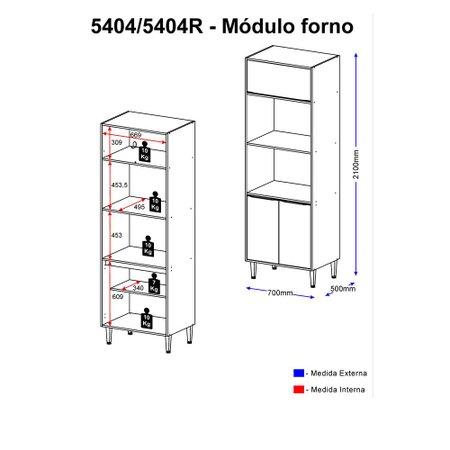 Paneleiro Multimóveis Calábria para Forno e Microondas 5404 Nogueira/Branco