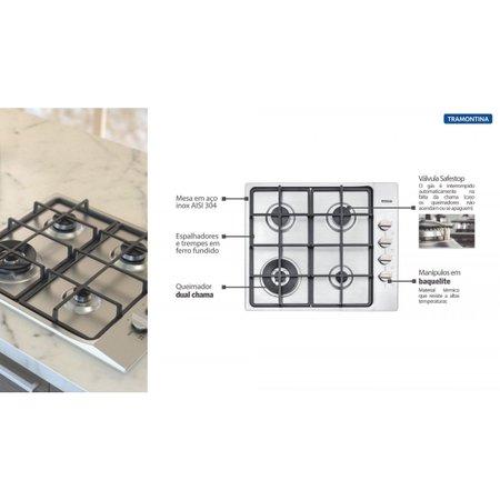Cooktop a Gás Tramontina Square Aço Inox + Ferro Fundido BIV