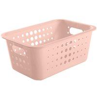 Caixa Organizadora Plástico 5l Casa Organize Cesto Closet Rosa Nude