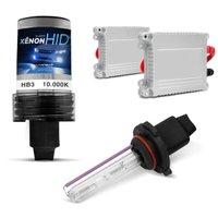 Kit Xênon Completo HB3 10000K 35W 12V Lâmpada Azul Violeta com Reator Função Anti Flicker