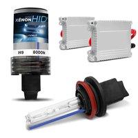 Kit Xênon Completo H9 8000K 35W 12V Lâmpada Tonalidade Azul e Reator Função Anti Flicker