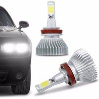 Kit Lâmpada Super LED 2D Headlight H11 6000K 12V 24V 35W 6400LM Efeito Xênon Carro Moto Caminhão