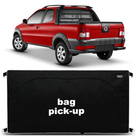 Bolsa Para Caçamba Pick-Up Strada Trekking 2005 a 2014 360 Litros Tamanho M Nylon Preto