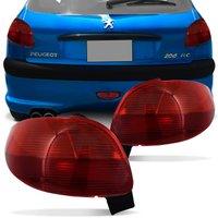 Par Lanterna Traseira Peugeot 206 1998 1999 2000 2001 2002 2003 Vermelho Rubi