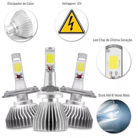Kit Lâmpadas Super LED Headlight Onix 2012 A 2015 Farol Baixo Alto H4 e Milha H27 6000K Efeito Xênon