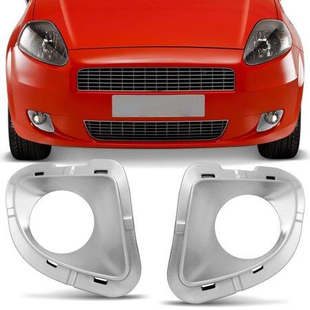 Grade Moldura Farol de Milha Fiat Punto 2007 2008 2009 2010 2011 2012 Prata com Furo