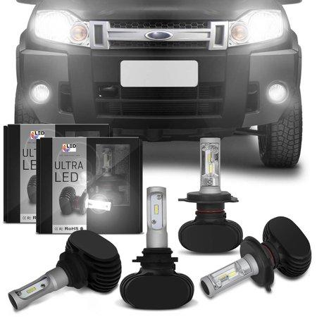 Kit Lâmpadas Ultra LED Ecosport 08 09 10 11 12 Farol Alto Baixo H4 e Milha HB4 6000K Efeito Xênon