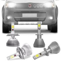 Kit Lâmpadas Super LED Headlight Uno 2011 A 2014 Farol Baixo Alto H4 e Milha H1 6000K Efeito Xênon
