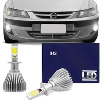 Kit Lâmpadas Super LED Headlight Celta 00 01 02 03 04 05 Farol de Milha H3 6000K Efeito Xênon