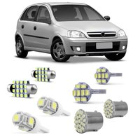 Kit Lâmpadas LED Pingo e Torpedo GM Corsa Hatch 2003 a 2014 Farolete Placa Teto e Ré