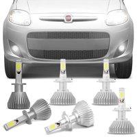 Kit Lâmpadas Super LED Headlight Palio 12 A 16 Farol Baixo Alto e Milha H7 e H1 6000K Efeito Xênon