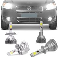 Kit Lâmpadas Super LED Headlight Palio 2008 A 2012 Farol Baixo Alto H4 e Milha H1 6000K Efeito Xênon