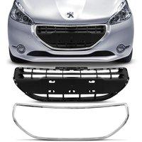 Grade Dianteira Central Peugeot 208 2013 2014 2015 2016 Preta + Friso Cromado