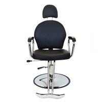 Cadeira Barbearia Reclinável Em Couro Preto Pel-036a - Peleg