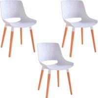 Kit 3 Cadeiras Decorativas Para Salas e Cozinhas LivClean (PP) Branco - Gran Belo