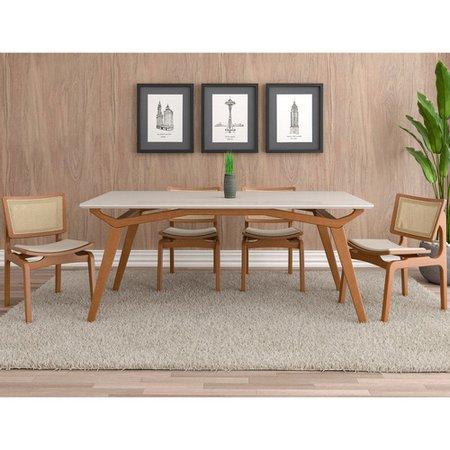 Mesa Sala de Jantar Cozinha 160cm Tampo de Vidro Monet Off White/Champagne - Gran Belo