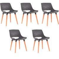Kit 5 Cadeiras Decorativas Para Salas e Cozinhas LivClean (PP) Cinza - Gran Belo