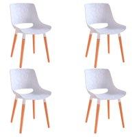 Kit 4 Cadeiras Decorativas Para Salas e Cozinhas LivClean (PP) Branco - Gran Belo