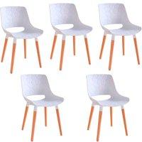 Kit 5 Cadeiras Decorativas Para Salas e Cozinhas LivClean (PP) Branco - Gran Belo