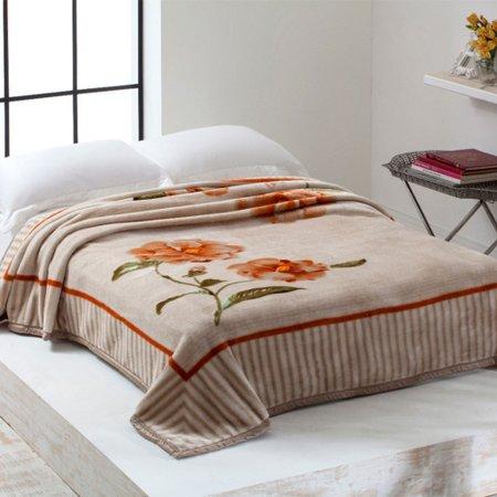 Cobertor Casal Home Design 2,20m x 1,80m 01 Peça - Bege / Floral