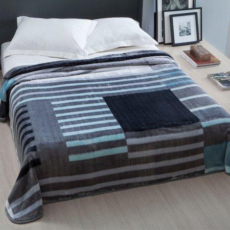 Cobertor Casal Home Design 2,20m x 1,80m 01 Peça - Cinza / Listras