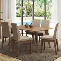 Conjunto Sala de Jantar Madesa Bruna Mesa Tampo de Madeira com 6 Cadeiras