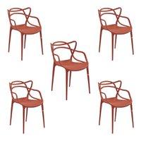 kit 5 Cadeiras Decorativas Sala e Cozinha Feliti (PP) Laranja Telha - Gran Belo
