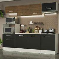 Cozinha Completa Madesa Onix 240002 com Armário e Balcão - Branco/Preto/Rustic 09D8
