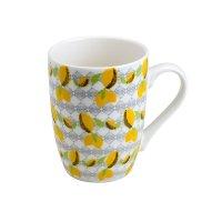 Caneca de Porcelana 330ml Lemons Juice - Bon Gourmet - Branco