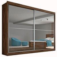 Guarda Roupa Casal 2 Portas com Espelho e 4 Gavetas Verona Plus- Made Marcs - Brauna