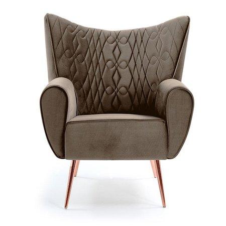 Poltrona Decorativa Kora Tressê - Domi Móveis - Marrom