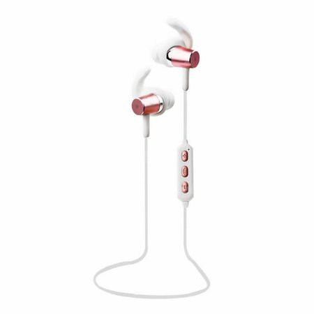 Fone Sport Bluetooth Earphone Intra-Auricular com Microfone e Controle de Volume Branco e Rose B-BT1