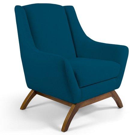 Poltrona Decorativa Fixa Base de Madeira Juliet D02 Veludo Azul B-170 - Lyam Decor